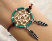 Dream catcher bracelet with feather charms