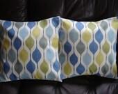 Decorative pillows teal blue green yellow geometric shapes design cushion shams UK designer fabric  Two 16 inch