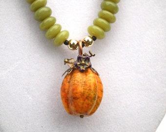 Howlite Pumpkin and Serpentine Pendant Necklace