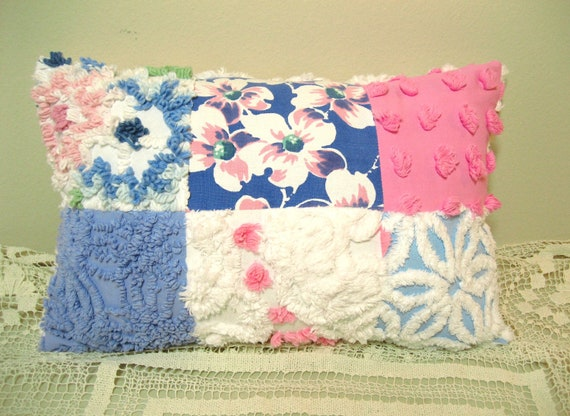Dogwood Pink and Blue Patchwork Chenille and Vintage Tablecloth Pillow