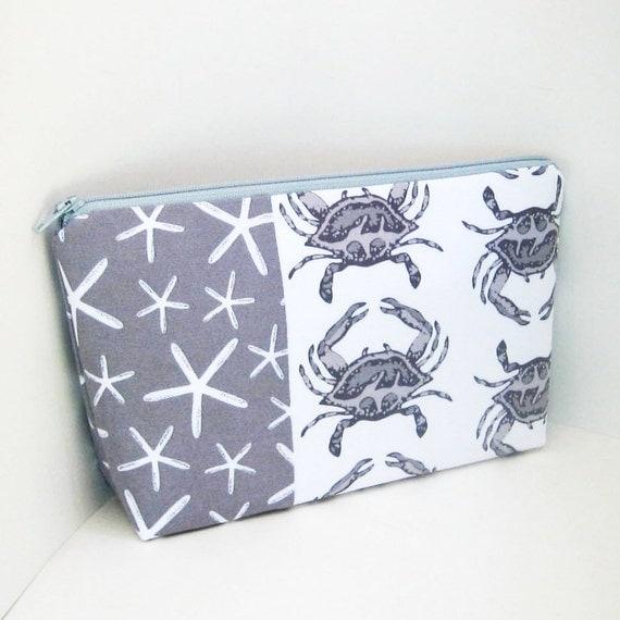 Zippered Cosmetic  Bag CRAB WALK in Gray