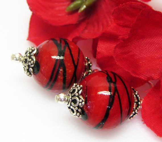 RESERVED for Susan Red and Black Earrings - Red Glass Earrings - Sterling Silver - Dangle Earrings - Fashion Earrings - Matching Bracelet