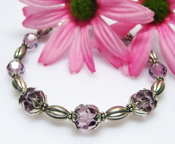 Sale Light Amethyst Swarovski Crystal Bracelet - Light Purple Crystal Bracelet - Sterling Silver Bracelet - June Birthstone Bracelet