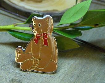 PIF AOK, Vintage Chrismas Holiday Teddy bear pin- Schmid 1984 Gordon fraser
