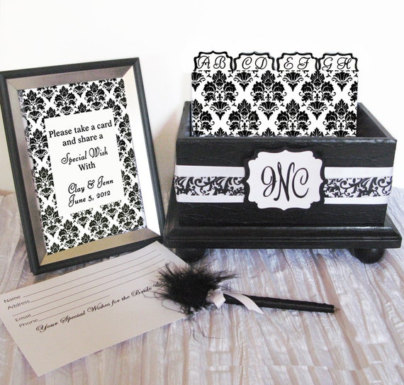 Wedding Guest Book Box Set Black & White Damask Personalized
