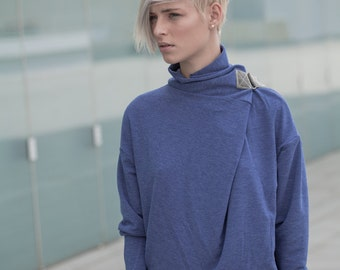 blue turtleneck sweater - blue cowl neck sweater - blue sweater - turtle neck sweater - urban clothing - womens tops - TurtleSweatPull