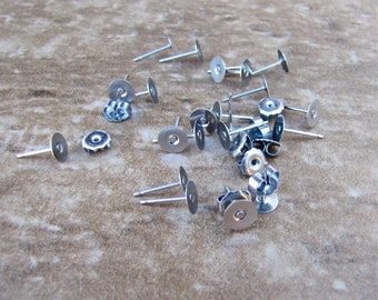 50 pcs 6mm Surgical Stainless Steel Flat-Pad Earring Posts and Backs 25 pairs