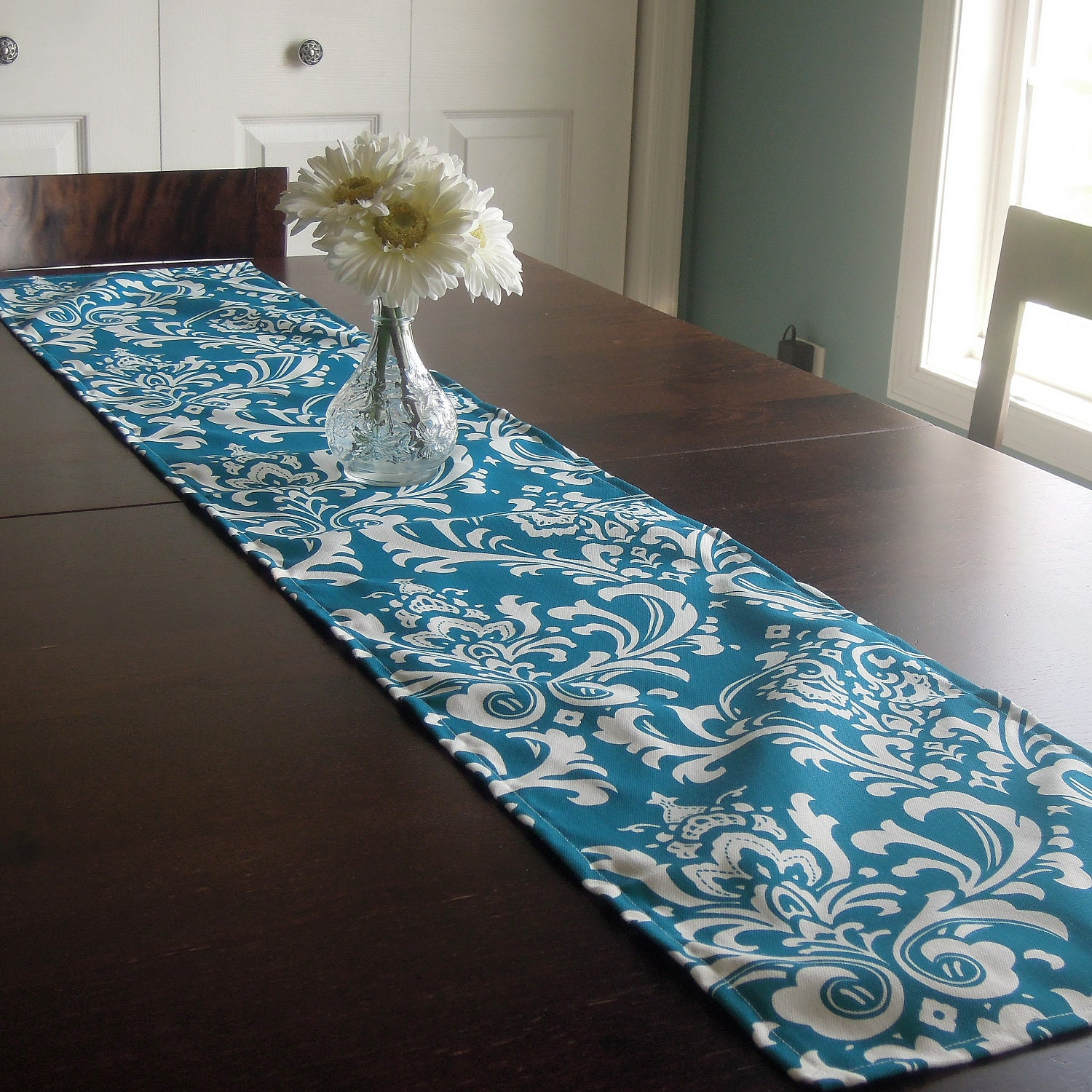 12x60 table runner damask modern contemporary teal for Camino mesa moderno