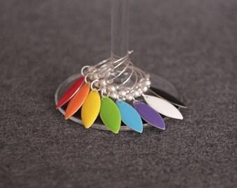 rainbow enamel wine glass markers, set of 8 . prost