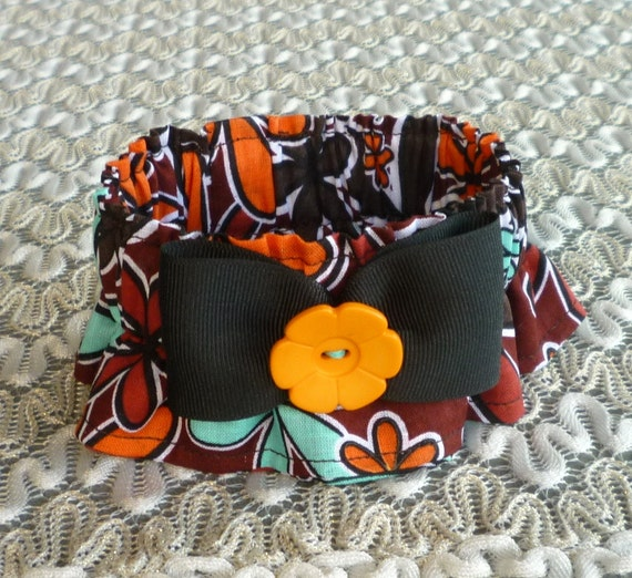 Blue / Orange Daisies Dog Scrunchie Collar with bow & flower button - X S - TRY ME PRICE
