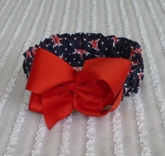 Custom for Kimnjackson - Patriotic Stars Dog Scrunchie Necklace with red grosgrain ribbon bow - XS