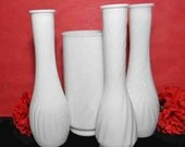 4 White Milk Glass Vases. Wedding Collection. Home and Office Decor. Vintage. 4568