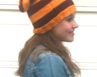 Slouch Hat -Stripes -  Burgundy and Gold - Gryffindor