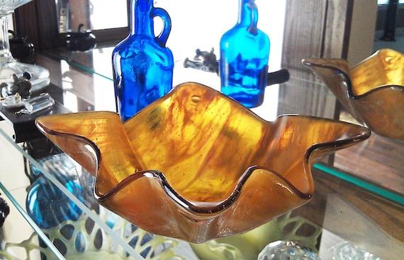 Honey Amber Bowl - Medium Handmade Fused Glass Reserved