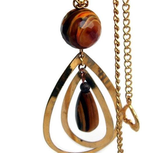 Vintage Teardrop Rock Tiger eye Pendant Necklace