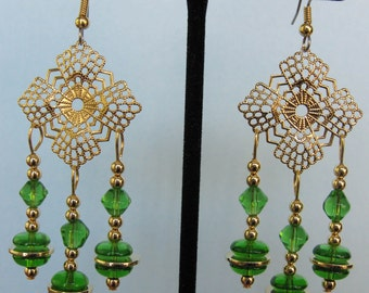 Green Glass Bead Filigree Chandelier Earrings