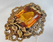Vintage Art Nouveau Brooch.  Huge. Gilt. Amber Czech Glass. Turn of the Century. Victorian. Calla Lily.