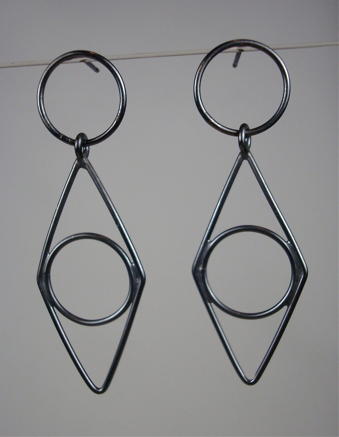 Line Drawing Etsy : Items similar to black silver line drawing drop earrings