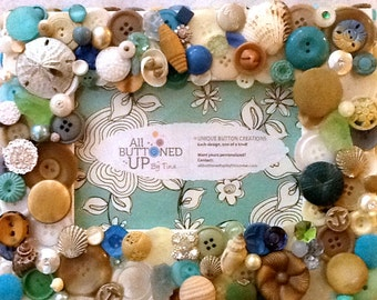 RESERVED - CUSTOM ONLY Beach Button Picture Frame in Blue Aqua Tan and White ~ Beach Decor ~ 4x6 Photo