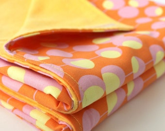 Sherbert Scoops Baby Blanket. Cotton and Flannel Infant Swaddling Blanket
