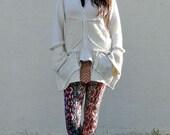 Upcycled Ivory White Pixie Hood Cardigan Sweater Jacket                    Made in England UK