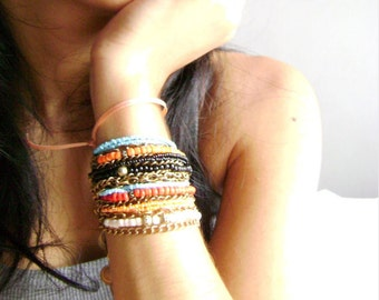 Trendy Boho chic bracelets - Mixed up - Four stacking bohemian bracelets at your colors choice orange turquoise red black coral