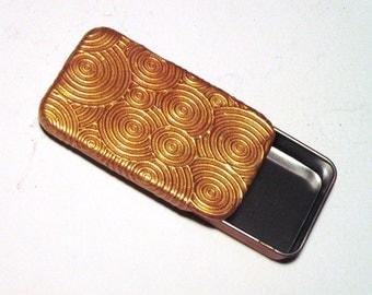 Art Deco Pill Case Gold Circles Retro Style Elegant Purse Accessory Handmade Gift Slide top Metal Tin FREE Velvet Gift Pouch Vitamin Case