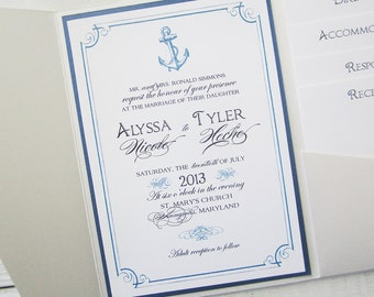 Anchor Wedding Invitation - Nautical Pocket Beach Tropical Destination Blue Ivory. Purchase this Deposit to get started.