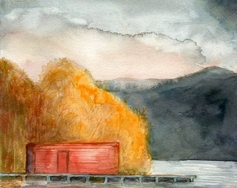 Autumn Lake Original watercolor painting 8x8 inch