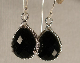 Jet Black Glass Braid Silver Bridesmaid Earrings, Wedding Earrings, Bridesmaid Jewelry, Silver Earrings, Bridal Earrings (3868w)