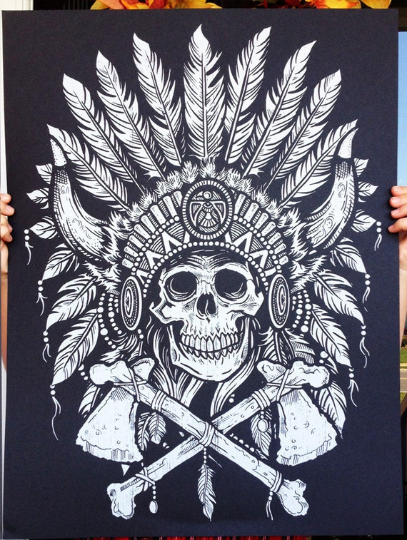 Tribal Headdress - Screen printed Poster