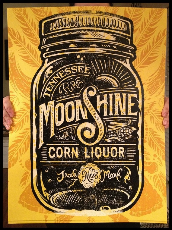 Aldo's Tennessee Moonshine Corn Liquor - Screen printed Poster