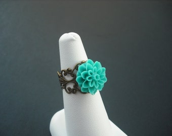 antique brass mum flower cabochon ring - one ring