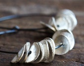 Silver Petals Earrings in Oxidized Sterling Hoops