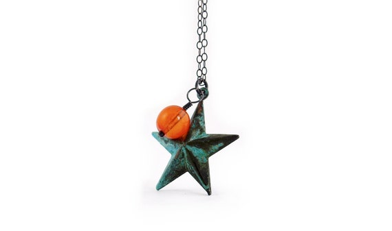 Star Necklace in Oxidized Sterling Silver and Verdigris Patina Brass