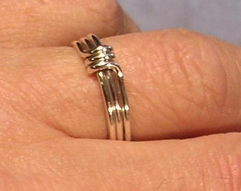 A set of Two Rings - Twin Peaks Rings in Sterling Silver - As Seen In The 24th Episode of TV Series.