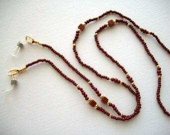Brown Eyeglass Holder Beaded Lanyard with Cube Goldstone Beads