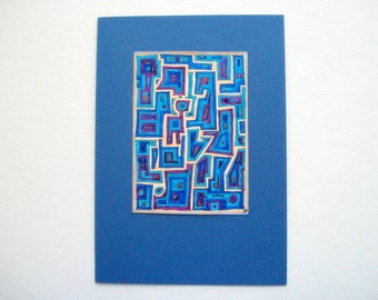 Abstract Greeting Card or Wall Hanging Hand Painted Original