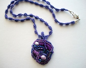 Beaded Pendant on Purple Necklace Mixed Media Wearable Art One of a Kind