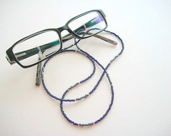 Beaded Eyeglass Necklace Dark Blue Minimalist Lanyard