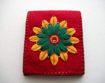 Red Needle Book Felt Needle Organizer with Hand Embroidered Felt Flower Handsewn