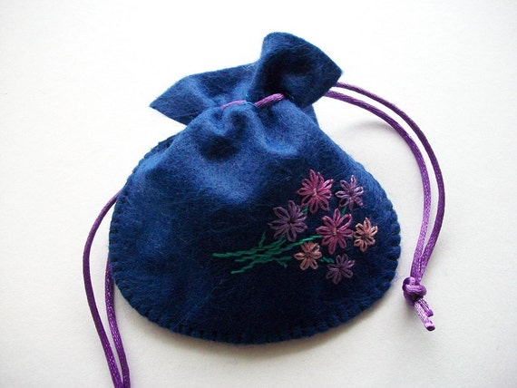 Gift Bag Royal Blue Felt Pouch Handsewn and Hand Embroidered