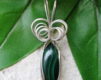 Malachite Pendant - Malachite Silver Wire Wrapped Pendant - Wire Wrapped Pendant - Malachite