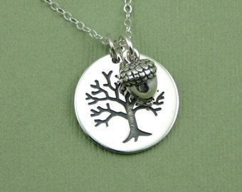 Acorn Necklace - Sterling Silver Tree and Acorn Pendant Jewelry, Teacher Gifts, Charm Necklace, Trendy Necklaces, Birthday Gift,