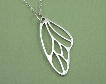 Butterfly Jewelry - Sterling Silver Butterfly Wing Necklace, Insect Jewelry, Teacher Gifts, Birthday Gift