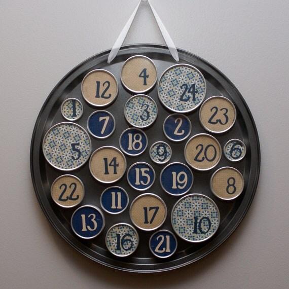 RESERVED ITEM for Kelly Skinner - metal tin advent calendar - blue and beige palette