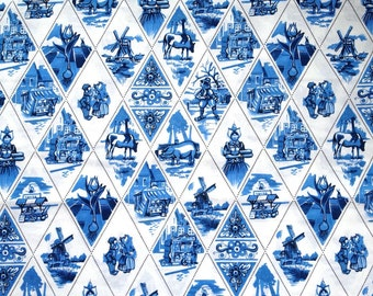 Delft Blue cotton fabric - Dutch print - Fat eight