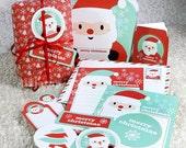Kawaii Christmas Santa Stationery Giftbag Printable PDF