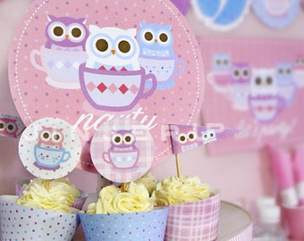 Tea Cup Owl Party Printable PDF