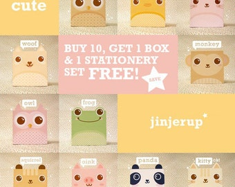 Offer Cute Animal Giftbox: Buy 10, Get 1Box & 1Stationery Set FREE - Printable PDF